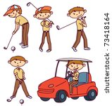 cute doodle golf players set | Shutterstock .eps vector #73418164
