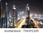 modern buildings of dubai city... | Shutterstock . vector #734191105