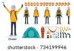 climber character creation set. ... | Shutterstock .eps vector #734199946