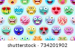abstract cute emoji pattern.... | Shutterstock .eps vector #734201902