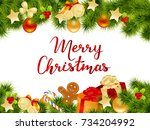 merry christmas card with... | Shutterstock .eps vector #734204992