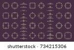 huge rosette wicker border... | Shutterstock .eps vector #734215306