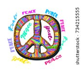 peace sign. bright embroidery... | Shutterstock .eps vector #734215555