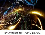 abstract light leaks motion... | Shutterstock . vector #734218702