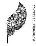 graphic black and white feather ... | Shutterstock .eps vector #734231422