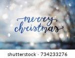 merry christmas lettering ... | Shutterstock .eps vector #734233276