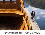 Small photo of A rowlock on a wooden rowing boat