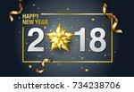 happy new year  2018  design ... | Shutterstock .eps vector #734238706
