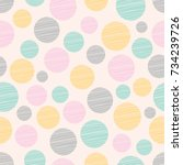 seamless pattern  polka dot... | Shutterstock .eps vector #734239726