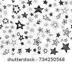 doodle star confetti seamless... | Shutterstock .eps vector #734250568
