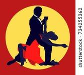 tango flat poster. vintage... | Shutterstock .eps vector #734255362