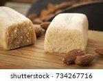 marzipan bar in baking scene...   Shutterstock . vector #734267716