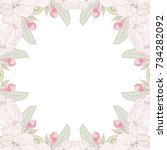 decorative frame with sakura...   Shutterstock .eps vector #734282092