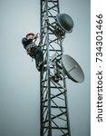 telecom worker cliping...   Shutterstock . vector #734301466