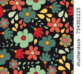 seamless pattern with cute... | Shutterstock . vector #734302225