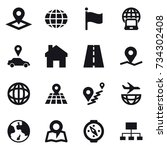 16 vector icon set   pointer ... | Shutterstock .eps vector #734302408