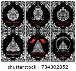 beautiful vintage christmas... | Shutterstock .eps vector #734302852