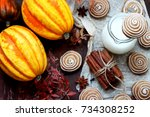 pumpkin cookies with cinnamon ... | Shutterstock . vector #734308252