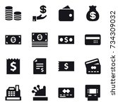 16 vector icon set   coin stack ... | Shutterstock .eps vector #734309032