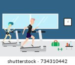 young man and woman running on... | Shutterstock .eps vector #734310442