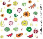 fruit doodle | Shutterstock .eps vector #734312812