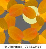 Small photo of Collage of The moon through the autumn leaves in the sky. Japanese stylistics. Yellow bright autumn leaves. Concept of Japanese hokku, Haiku and Japanese culture.