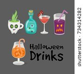 spooky halloween drinks  set of ... | Shutterstock .eps vector #734314282