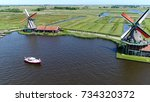 aerial photo zaanse schans... | Shutterstock . vector #734320372