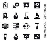 16 vector icon set   report ... | Shutterstock .eps vector #734328298