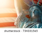 close up image of statue of... | Shutterstock . vector #734331565