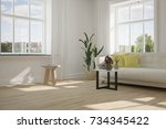 idea of white room with sofa... | Shutterstock . vector #734345422