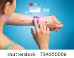 female hand with smartwatch and ... | Shutterstock . vector #734350006