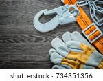 construction gloves safety...   Shutterstock . vector #734351356