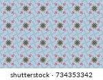 raster illustration. cute... | Shutterstock . vector #734353342