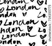london hand lettering... | Shutterstock .eps vector #734355775