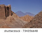 the geology of valle de la luna ... | Shutterstock . vector #734356648