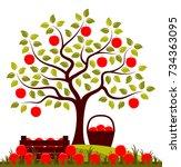vector apple tree  wooden crate ... | Shutterstock .eps vector #734363095