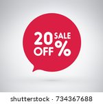20  offer label sticker  sale... | Shutterstock .eps vector #734367688