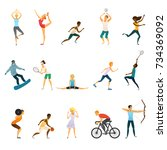 sport people flat colored icons ... | Shutterstock . vector #734369092