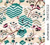 floral seamless pattern with... | Shutterstock .eps vector #734372212