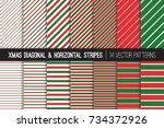 christmas candy cane and pin... | Shutterstock .eps vector #734372926