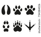print of paws of animals. | Shutterstock .eps vector #734384026