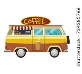 van mobile cafe icon. cartoon... | Shutterstock . vector #734385766