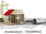 3d illustration of frame house...   Shutterstock . vector #734389462