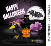 happy halloween cartoon... | Shutterstock .eps vector #734402188