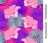 tropical  exotic seamless... | Shutterstock .eps vector #734402965