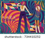 night party poster design.... | Shutterstock .eps vector #734410252