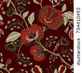 vector seamless nature pattern. ... | Shutterstock .eps vector #734410492