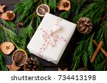 christmas gift on the antique... | Shutterstock . vector #734413198