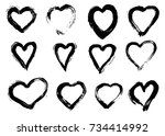 hand drawn hearts   isolated ... | Shutterstock .eps vector #734414992